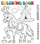 coloring book horse near circus ... | Shutterstock .eps vector #680851291