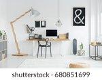 spacious modern room in black... | Shutterstock . vector #680851699