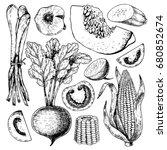 vector hand drawn set of farm...   Shutterstock .eps vector #680852674