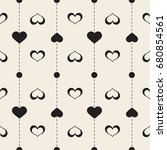 seamless monochrome  heart with ...   Shutterstock .eps vector #680854561