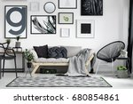 wooden sofa with dark pillows... | Shutterstock . vector #680854861