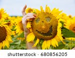 Small photo of Sunflower with a smile. Emotions on sunflower. like and smile of sunflower