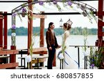 romantic married couple in... | Shutterstock . vector #680857855