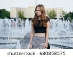woman on the background of a... | Shutterstock . vector #680858575