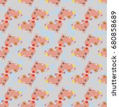 new colorful seamless pattern...   Shutterstock .eps vector #680858689