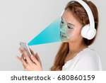 facial recognition system of... | Shutterstock . vector #680860159