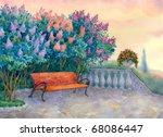 Watercolor Landscape. Bench...