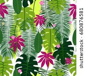 seamless pattern with tropical... | Shutterstock .eps vector #680876581