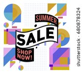 summer sale geometric style web ... | Shutterstock .eps vector #680878324