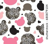 seamless pattern with teddy... | Shutterstock .eps vector #680879104