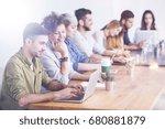 employees at work in a modern...   Shutterstock . vector #680881879