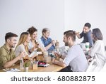 multicultural team of coworkers ... | Shutterstock . vector #680882875