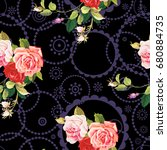 seamless floral pattern three... | Shutterstock .eps vector #680884735