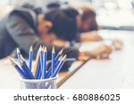 pencil sharp and unsharp... | Shutterstock . vector #680886025
