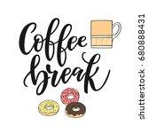 "handwritten lettering ""coffee...   Shutterstock .eps vector #680888431"