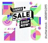 summer sale geometric style web ... | Shutterstock .eps vector #680891095