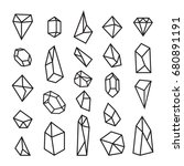 set of geometric crystals.... | Shutterstock .eps vector #680891191