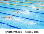 swimmers swimming in a pool | Shutterstock . vector #68089186