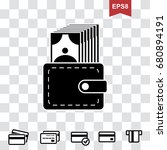 wallet icon in flat style....