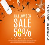 halloween sale orange... | Shutterstock .eps vector #680898769