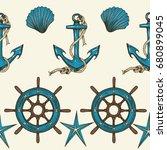 vintage nautical seamless... | Shutterstock .eps vector #680899045