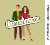 happy couple in casual wear... | Shutterstock .eps vector #680900821