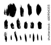 set of black ink brush strokes. ... | Shutterstock .eps vector #680904355