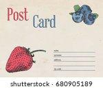 berries garden postcard...   Shutterstock .eps vector #680905189