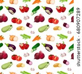 pattern texture from vegetables ... | Shutterstock .eps vector #680907289