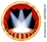 circle stage with red curtain ... | Shutterstock .eps vector #680908219