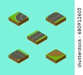 isometric way set of plane  way ...   Shutterstock .eps vector #680912605