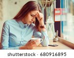 stress. portrait stressed sad... | Shutterstock . vector #680916895