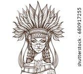 beautiful girl in a headdress...   Shutterstock .eps vector #680917255