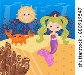 underwater world with mermaid... | Shutterstock .eps vector #680919547