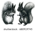 two cute black graphic...   Shutterstock . vector #680919745