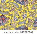 traditional indian paisley... | Shutterstock . vector #680922169