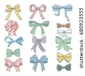 holiday bows and ribbons in... | Shutterstock .eps vector #680923555