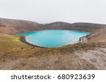 volcanic crater lake of iceland ...   Shutterstock . vector #680923639