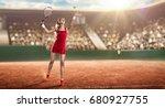 tennis player serving | Shutterstock . vector #680927755