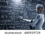 3d rendering robot learning or... | Shutterstock . vector #680929729