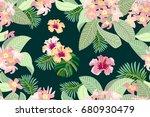 blooming summer paradise.... | Shutterstock .eps vector #680930479