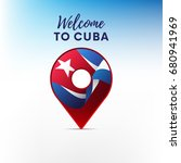 flag of cuba in shape of map... | Shutterstock .eps vector #680941969