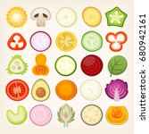 vegetable slices illustrations. ... | Shutterstock .eps vector #680942161