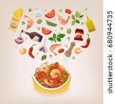 famous dish of italian cuisine. ... | Shutterstock .eps vector #680944735