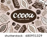 hand drawn doodle cocoa and...   Shutterstock .eps vector #680951329
