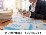business woman holding a car... | Shutterstock . vector #680951365