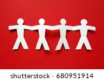 chain of paper people on red... | Shutterstock . vector #680951914
