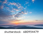 early morning in mountains.... | Shutterstock . vector #680954479