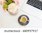 feminine workplace concept....   Shutterstock . vector #680957917