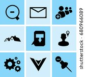set of 9 mixed icons such as... | Shutterstock .eps vector #680966089